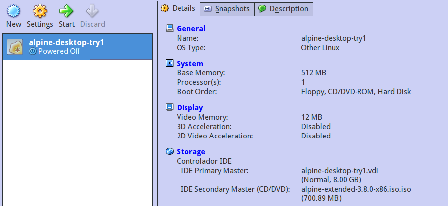 Alpine configuration commonly used of a virtual machine on virtual box virtual machine